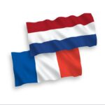 Flags of France and Netherlands on a white background